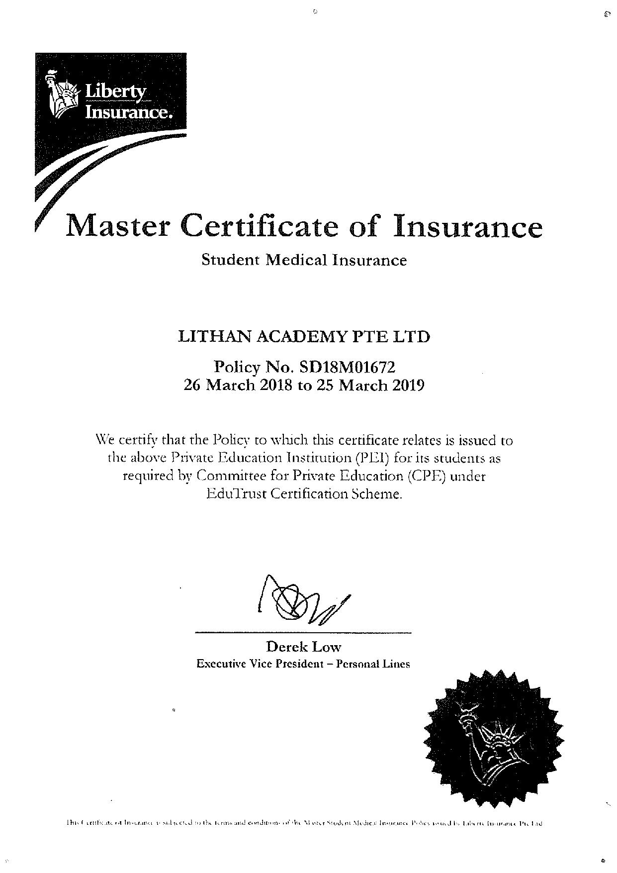 Master Certificate Of Insurance Lithan
